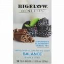 Bigelow, 効能、バランス、シナモン & ブラックベリーハーブティー、ティーバッグ18袋、1.39 oz (39 g) (Discontinued Item)