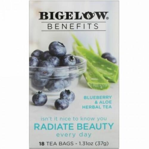 Bigelow, 効能、美しさの発散、ブルーベリ & アロエハーブティー、ティーバッグ18袋、1.31 oz (37 g) (Discontinued Item)