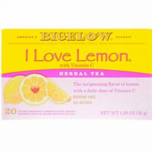 Bigelow, Herbal Tea, I Love Lemon with Vitamin C, Caffeine Free, 20 Tea Bags, 1.28 oz (36 g) (Discontinued Item)