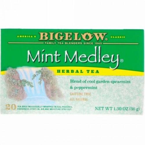 Bigelow, Herbal Tea, Mint Medley, Caffeine Free, 20 Tea Bags, 1.30 oz (36 g) (Discontinued Item)
