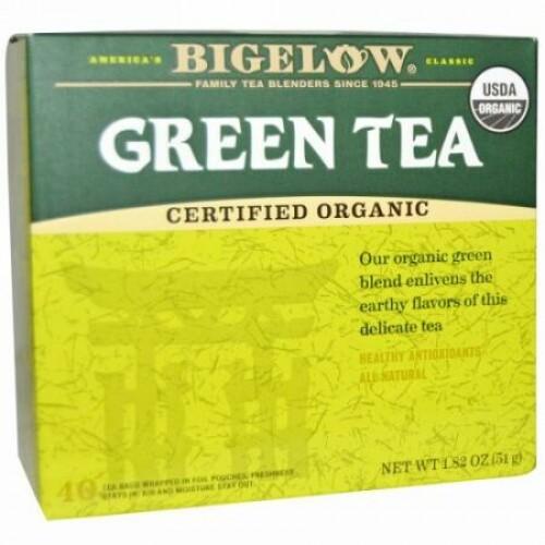 Bigelow, オーガニック グリーンティー、40ティーバッグ、1.82 oz (51 g) (Discontinued Item)