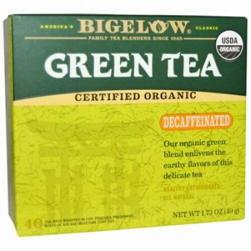 Bigelow, オーガニック グリーンティー、カフェイン抜き、40ティーバッグ、1.73 oz (49 g) (Discontinued Item)