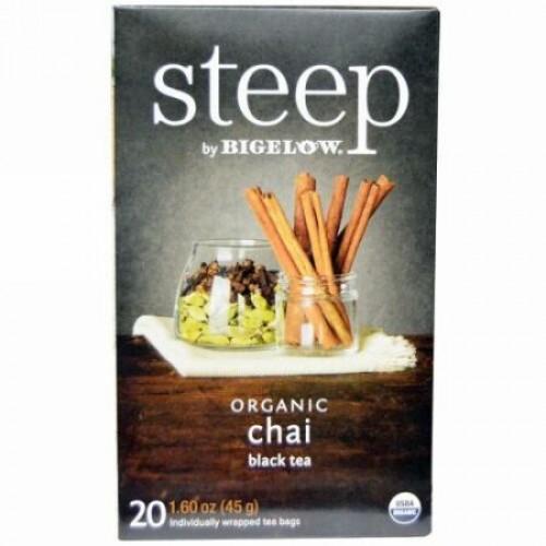Bigelow, Steep, Organic  Chai Black Tea, 20 Tea Bags, 1.60 oz (45 g) (Discontinued Item)