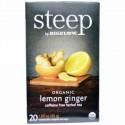 Bigelow, Steep, Organic Lemon Ginger, Caffeine Free Herbal Tea, 20 Bags, 1.60 oz (45 g) (Discontinued Item)