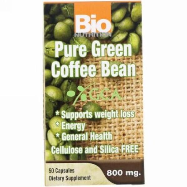 Bio Nutrition, 純粋グリーンコーヒー豆、800 mg、50カプセル