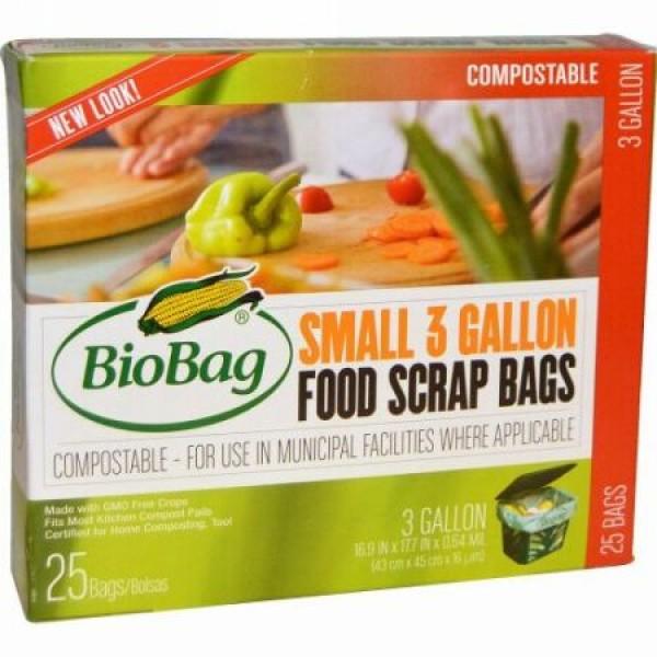 Biobag, フードスクラップバッグ, 小, 25バッグ, 3ガロン, 16.9インチ×17.7インチ×0.64ミル(43 cm × 45 cm ×16 um〈ミクロン〉) (Discontinued Item)