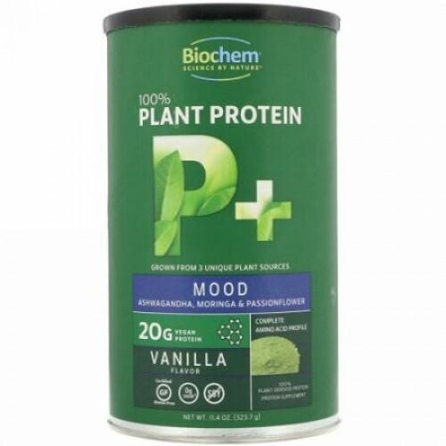 Biochem, 100%植物プロテイン、P+ムード、バニラフレーバー、11.4オンス (323.7 g) (Discontinued Item)