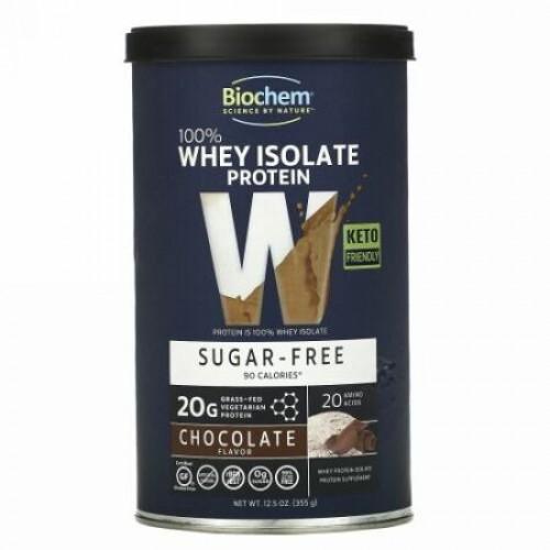 Biochem, 100% Whey Isolate Protein, Sugar Free, Chocolate Flavor, 12.5 oz (355 g)