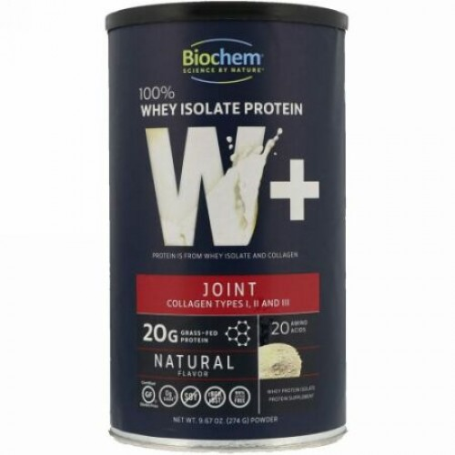 Biochem, 100% Whey Isolate Protein, W+ Joint, Natural Flavor, 9.67 oz (274 g) (Discontinued Item)