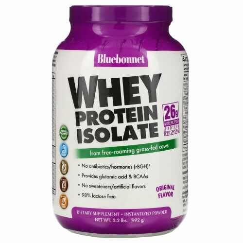 Bluebonnet Nutrition, 100% Natural Whey Protein Isolate、天然の風味、2.2ポンド (992 g)