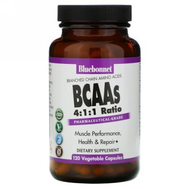 Bluebonnet Nutrition, BCAAs 4:1:1 Ratio, 120 Vegetable Capsules