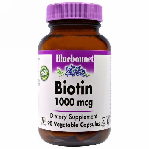 Bluebonnet Nutrition, ビオチン、1,000 mcg、90ベジカプセル (Discontinued Item)