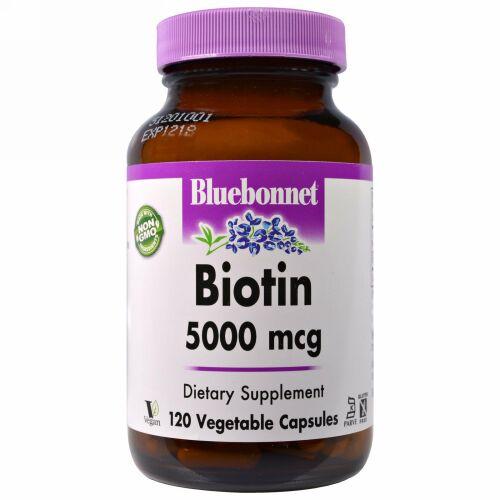 Bluebonnet Nutrition, ビオチン、5,000 mcg、120ベジキャップ (Discontinued Item)