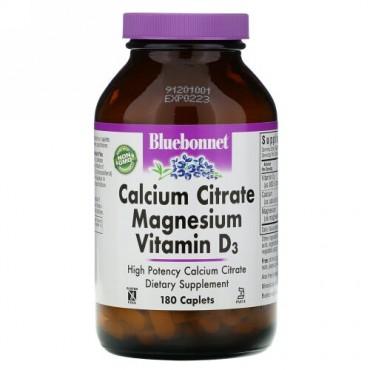 Bluebonnet Nutrition, クエン酸カリウムマグネシウムビタミンD3、カプレット180錠