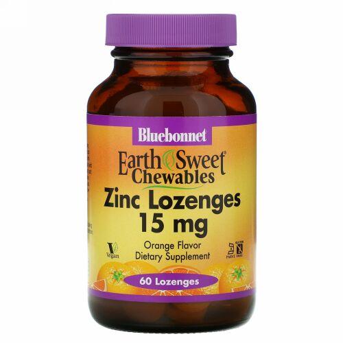 Bluebonnet Nutrition, EarthSweet(アーススィート)、亜鉛トローチ、天然オレンジ風味、15mg、60粒