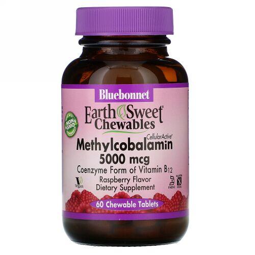 Bluebonnet Nutrition, EarthSweet Chewables, CellularActive Methylcobalamin, Raspberry Flavor, 5,000 mcg, 60 Chewable Tablets