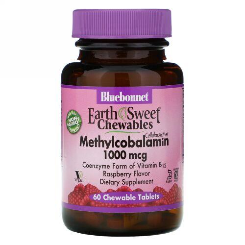 Bluebonnet Nutrition, EarthSweet Chewables, Methylcobalamin, Natural Raspberry Flavor, 1,000 mcg, 60 Chewable Tablets
