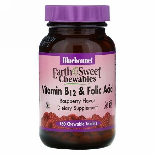Bluebonnet Nutrition, EarthSweetチュアブル、ビタミンB-12 & 葉酸、天然ラズベリー風味、180チュアブル錠
