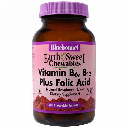 Bluebonnet Nutrition, EarthSweet、ビタミン B-6、 B-12 プラス葉酸、ラズベリー、チュアブル・タブレット60錠