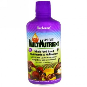 Bluebonnet Nutrition, リキッドスーパーアース マルチ栄養剤、マルチビタミン & マルチミネラル、天然トロピカルフルーツ味、32 fl oz (946 ml) (Discontinued Item)