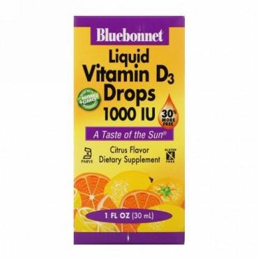 Bluebonnet Nutrition, 液体 ビタミンD3ドロップス、 自然なシトラスフレーバー、 1,000IU、 1液量オンス (30 ml)