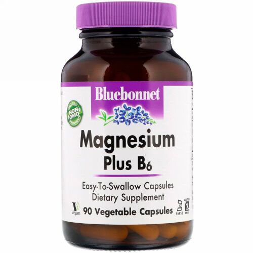 Bluebonnet Nutrition, マグネシウムプラス B6, ベジタリアンカプセル90粒