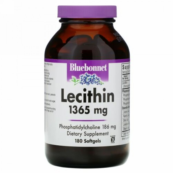 Bluebonnet Nutrition, Natural Lecithin, 1,365 mg, 180 Softgels