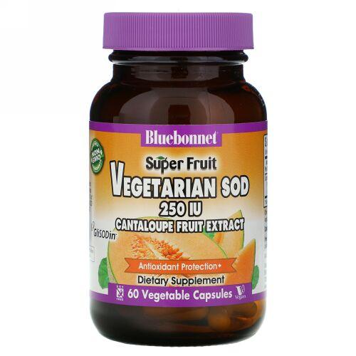 Bluebonnet Nutrition, スーパーフルーツ、ベジタリアンSOD、メロン果実エキス、250 IU, 60ベジキャップ