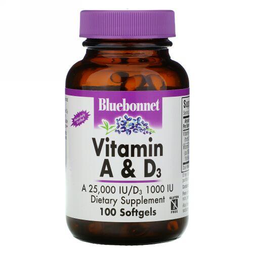Bluebonnet Nutrition, ビタミン A & D3、100ソフトジェル