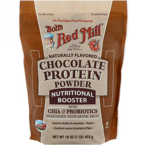 Bob's Red Mill, チョコレートプロテインパウダー、栄養促進剤(チア & プロバイオティクス)、16 oz (453 g)