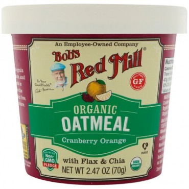 Bob's Red Mill, Organic Oatmeal Cup, Cranberry Orange with Flax & Chia, 2.47 (70 g) (Discontinued Item)