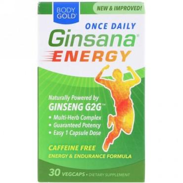 BodyGold, Ginsanaエネルギー、カフェインフリー、30ベジカプセル