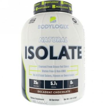 Bodylogix, ナチュラルアイソレート、濃厚なチョコレート、4 lbs (1.8 kg) (Discontinued Item)