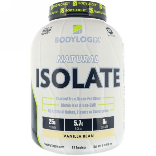 Bodylogix, ナチュラルアイソレート、バニラビーン、4 lbs (1.8 kg) (Discontinued Item)