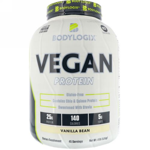 Bodylogix, ビーガンプロテイン、バニラビーン、4 lbs (1.8 kg) (Discontinued Item)