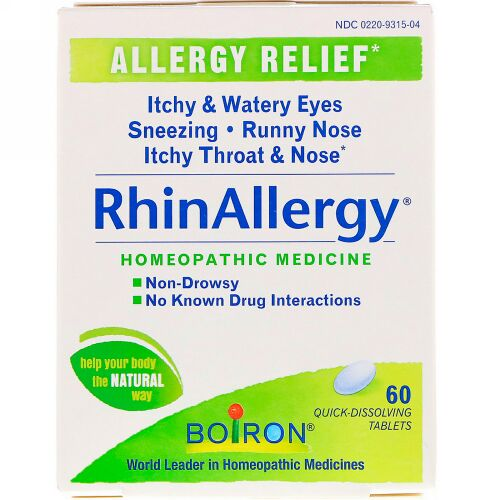 Boiron, RhinAllergy、速溶性錠剤60錠入り