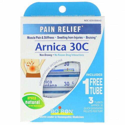 Boiron, Single Remedies, アルニカ30C、鎮痛剤、3本のチューブ、各80本のペレット
