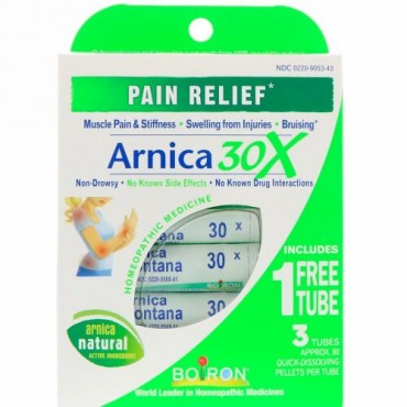 Boiron, Single Remedies, アルニカ30X、3本、 急速に溶解するペレット約80個