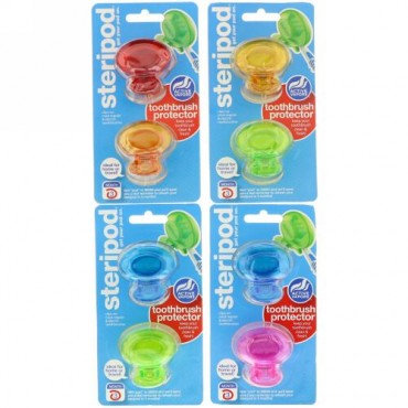 Bonfit America, Steripod, Toothbrush Protector, 4 Pack, 2 Multi Colors Each (Discontinued Item)