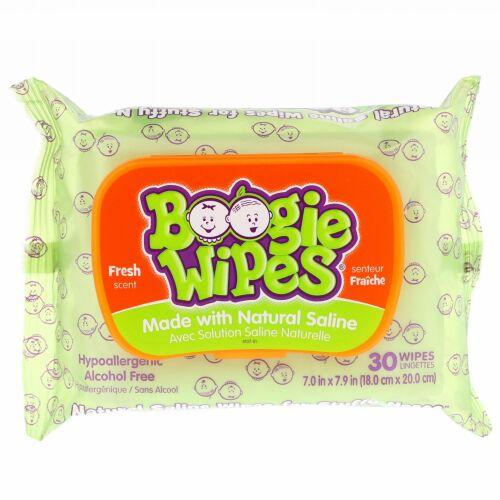 Boogie Wipes, 鼻詰まり用生理食塩水ウェットティッシュ、フレッシュな香り、30枚