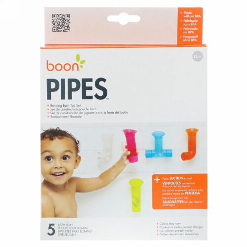 Boon, Pipes, Building Bath Toy Set, 5 Bath Toys, Colors May Vary, 12+ Months