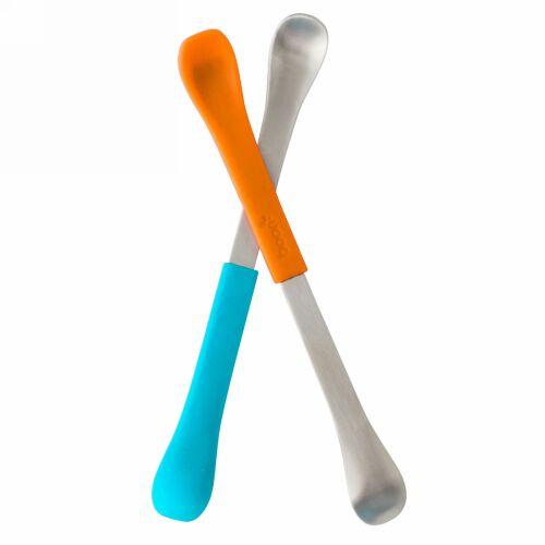 Boon, スワップ、2-in-1 離乳食スプーン、生後4カ月以上、ブルー&オレンジ、2本 (Discontinued Item)