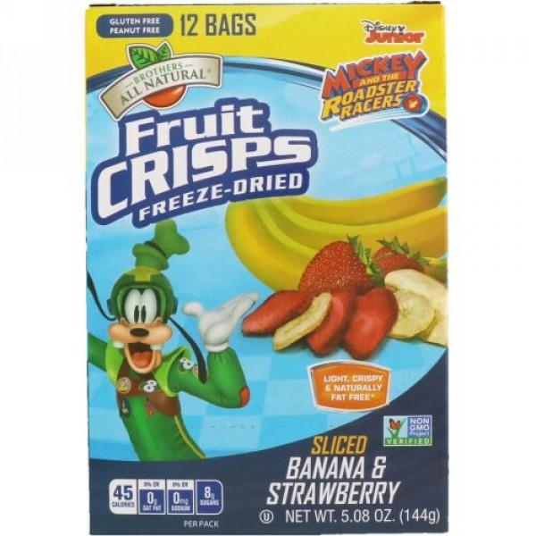 Brothers-All-Natural, Disney Junior, Fruit Crisps, Sliced Banana & Strawberry, 12 Pack, 5.08 oz (144 g) (Discontinued Item)