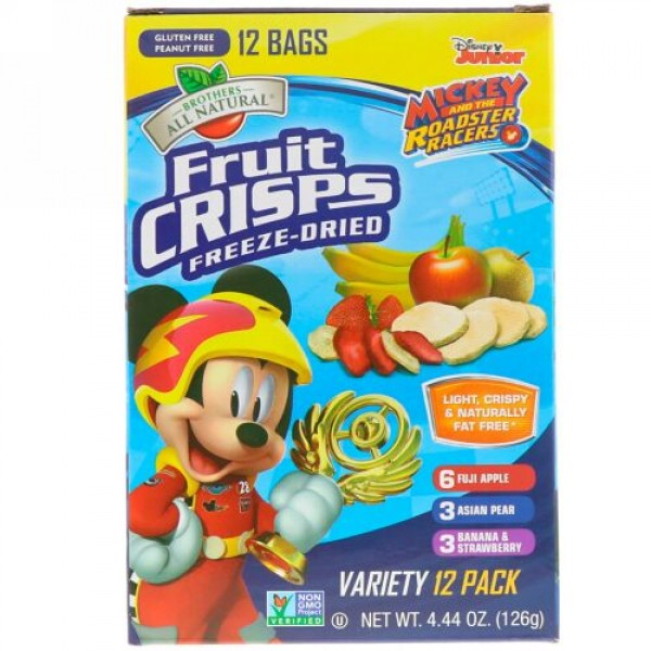 Brothers-All-Natural, Disney Junior, Fruit Crisps, Variety Pack, 12 Pack, 4.44 oz (126 g)