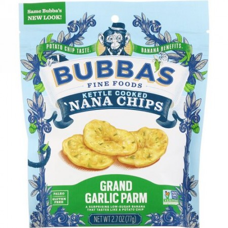 Bubba's Fine Foods, 'ナナチップス、グランドガーリックパーム、2.7オンス (77 g) (Discontinued Item)