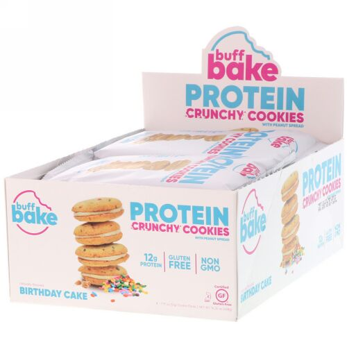 Buff Bake, Protein Crunchy Cookies with Peanut Spread, Birthday Cake, 8 Cookie Packs, 14.32 oz (408 g) (Discontinued Item)