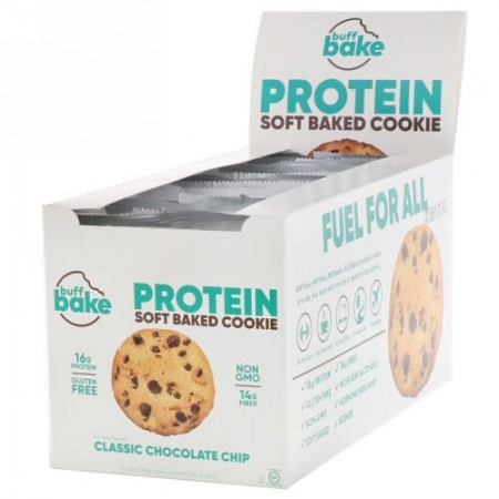 Buff Bake, Protein Soft Baked Cookie, Classic Chocolate Chip, 12 Cookies, 2.82 oz (80 g) Each (Discontinued Item)