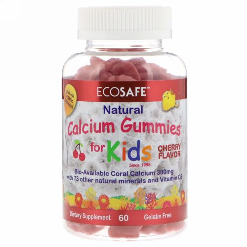 CORAL LLC, 子供用カルシウムグミ、チェリー味、60個 (Discontinued Item)