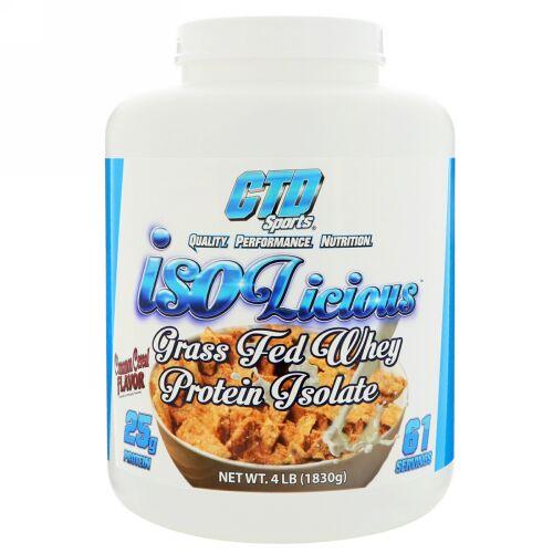CTD Sports, Isolicious グラスフェッドホエイタンパク質アイソレート、シナモンシリアル風味、4 lb (1830 g) (Discontinued Item)