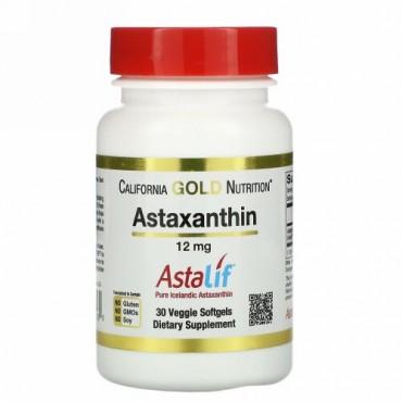 California Gold Nutrition, アスタキサンチン、Astalif(アスタリフ)純アイスランド産、12mg、植物性ソフトジェル30粒